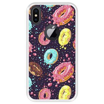 Capa Tpu Hapdey para Iphone X - Xs | Design Donuts com Chocolate e Granulado Colorido 2 - Transparente