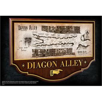Réplica Harry Potter - Diagon Alley Cross Road Map with Frame 43x28cm