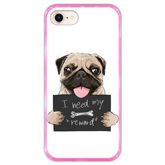 Capa Hapdey para iPhone 7 - 8 Design Pug I Need my Reward em Silicone Flexível e TPU Cor-de-Rosa