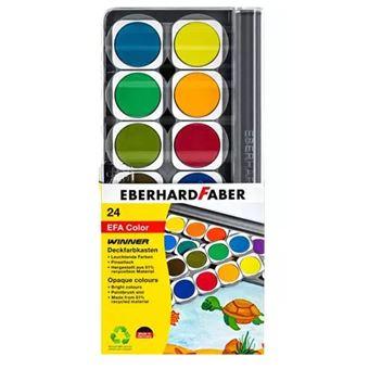 Aguarela eberhard faber 578324 preto, azul, castanho, verde, cinzento, laranja, rosa, vermelho, turquesa, amarelo paleta 24 unidade(s)