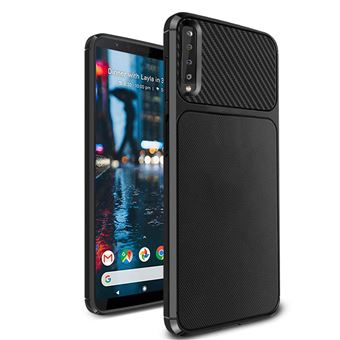 Capa Advansia para Samsung Galaxy A9 2018 TPU Ultra Fino Silicone Fibra de carbono Preto