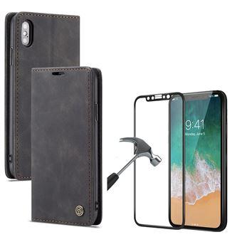 Kit Película + Capa Livro Caseme Elite PhoneShield Flexguard para iPhone X   Full Cover   Reaplicável  - Preto