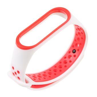 Pulseira Soft Silicone de Dois Tons Branco / Vermelho para Xiaomi Mi Band 3