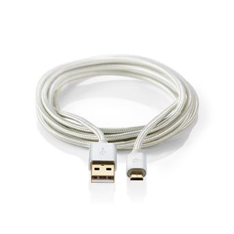 Nedis CCTB60500AL30 cabo USB 3 m 2.0 USB A Micro-USB B Alumínio