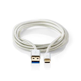 Nedis CCTB61600AL10 cabo USB 1 m 3.0 (3.1 Gen 1) USB A USB C Alumínio