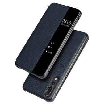 Capa Magunivers de couro genuíno janela de visualização azul para Huawei P20 Pro Smart