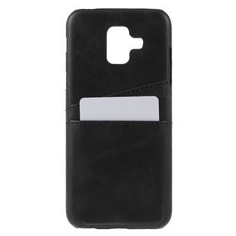 Capa PU duplo revestido rígido preto para Samsung Galaxy A6
