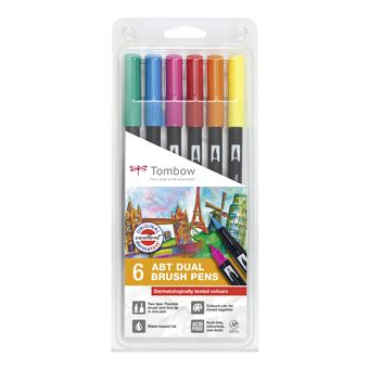 Tombow 272472063 caneta de feltro Fino/médio Azul, Verde, Laranja, Rosa, Vermelho, Amarelo 6 peça(s) Multi cor