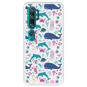 Capa Tpu Hapdey para Xiaomi Mi Note 10 - Note 10 Pro - Cc9 Pro | Design Animais Subaquáticos | Algas e Corais - Transparente