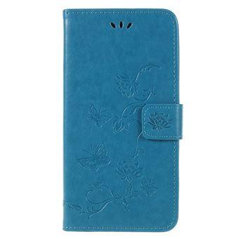 Capa PU Magunivers flores borboleta azul para Samsung Galaxy A6 (2018)