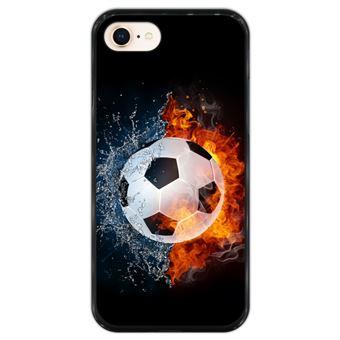 Capa Hapdey para iPhone 7 - 8 Design Bola de Futebol com Fogo e Água em Silicone Flexível e TPU Preto
