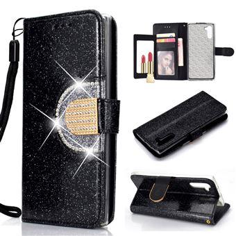Capa Magunivers PU Espelho de Emenda de Strass Brilhante Preto para Samsung Galaxy Note 10