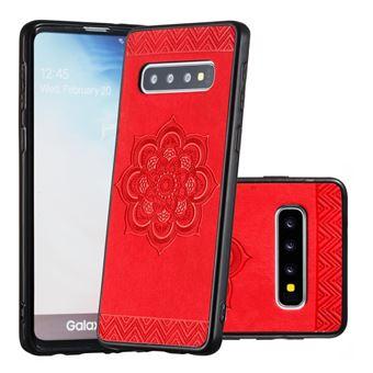 Capa Magunivers para Samsung Galaxy S10 | TPU + PU |padrão floral - Vermelho