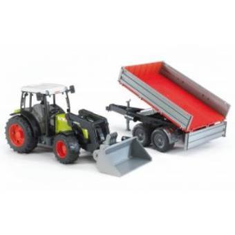 Tractor Claas Nectis 267 F com pá dianteira e reboque bascul