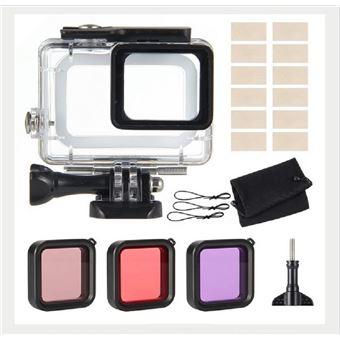 Pack 6 em 1 kit de montagem, estojo protetor e filtro e inserção anti-fog WISETONY para GoPro Hero 5/ 6/ 7 Black