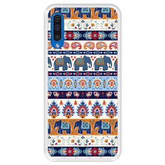 Capa Tpu Hapdey para Samsung Galaxy A50 2019 | Design Padrão Tribal de Tapete Indiano 2 - Transparente