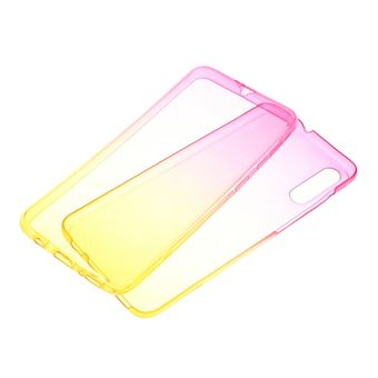 Capa Magunivers para Samsung Galaxy A50 e TPU Gradiente de Cor Destacável 2-Em-1 Amarelo/Rosa