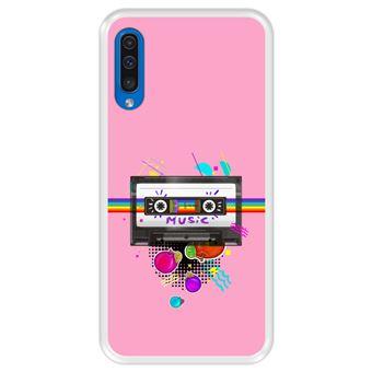 Capa Tpu Hapdey para Samsung Galaxy A50 2019 | Design Fita de Áudio | Estilo Retrô - Transparente