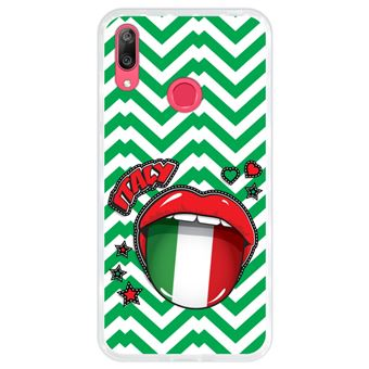 Capa Hapdey para Huawei Y7 2019 - Y7 Prime 2019 Design Bandeira de Itália, Pop Art Sexy Lábios Vermelhos em Silicone Flexível e TPU