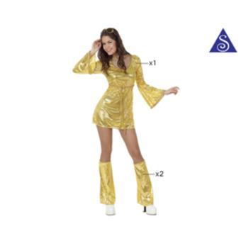 Disfarce Atosa Menina do Disco Vestido Dourado t-2