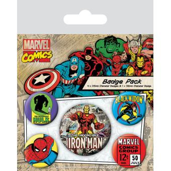 Pack de Crachás Pyramid International Marvel Iron Man Retro