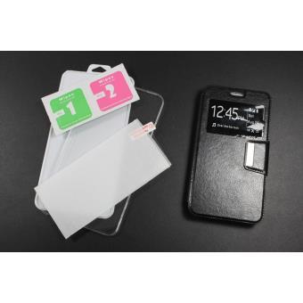 Película de Vidro Temperado + Capa skyhe para Samsung Galaxy S3 Mini Flip Cover Preto