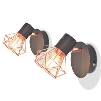 Candeeiros de Parede vidaXL 2 pcs com 2 lâmpadas filamentos LED 8 W