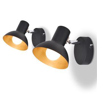 Candeeiros de Parede vidaXL 2 pcs para 2 lâmpadas E27 preto e dourado