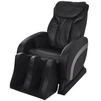 Cadeira de Massagem Elétrica Vidaxl Couro Artificial Preto 75x140 cm