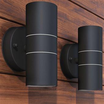 Candeeiros LED vidaXL iluminação exterior 2 pcs inox Preto 9 x 9 x 11 cm