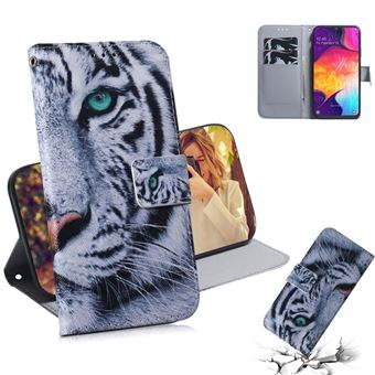 Capa PU padrão impresso com suporte tigre para Samsung Galaxy A50