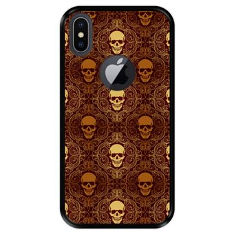 Capa Tpu Hapdey para Iphone X - Xs | Design Caveiras Douradas | Padrão Abstrato - Preto