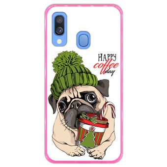 Capa Hapdey para Samsung Galaxy A40 2019 Design Pug Happy Coffee Day em Silicone Flexível e TPU Cor-de-Rosa