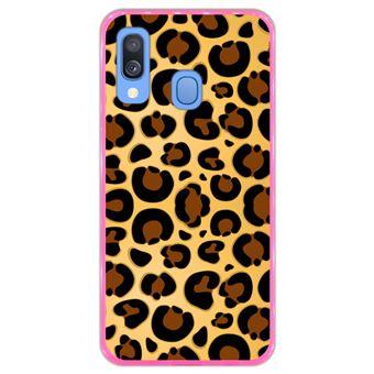 Capa Hapdey para Samsung Galaxy A40 2019 Design Leopardo em Silicone Flexível e TPU Cor-de-Rosa