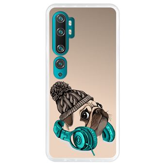 Capa Hapdey para Xiaomi Mi Note 10 - Note 10 Pro - CC9 Pro | Silicone Flexível em TPU | Design Hipster Pug - música é minha fuga - Transparente