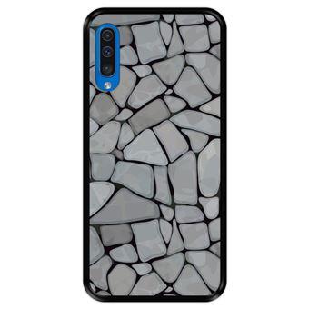 Capa Tpu Hapdey para Samsung Galaxy A50 2019   Design Mosaico de Parede de Pedra Abstrato e Moderno - Preto