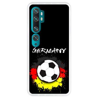 Capa Hapdey para Xiaomi Mi Note 10 - Note 10 Pro - CC9 Pro | Silicone Flexível em TPU | Design Alemanha, bandeira e futebol - Transparente