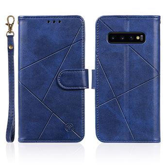 Capa Magunivers para Samsung Galaxy S10| PU |superfície de losango com suporte e alça - Azul