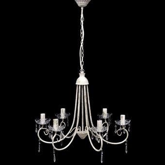 Candelabro vidaXL de cristal elegante branco com 6 lâmpadas