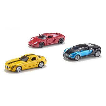 Siku 6301 Pré-montado Modelo de carro desportivo 1:55 modelo de veículo terrestre Azul e Vermelho e Amarelo