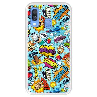 Capa Tpu Hapdey para Samsung Galaxy A40 2019 | Design Padrão de Bolhas Em Quadrinhos 5 - Transparente