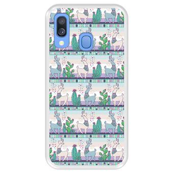 Capa Tpu Hapdey para Samsung Galaxy A40 2019 | Design Padrão de Lhama 2 - Transparente