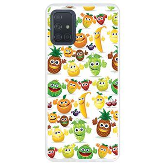 Capa Hapdey para Samsung Galaxy A71 | Silicone Flexível em TPU | Design Frutas felizes - Transparente