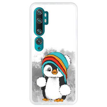 Capa Hapdey para Xiaomi Mi Note 10 - Note 10 Pro - CC9 Pro | Silicone Flexível em TPU | Design Pinguim Bebê, Inverno - Transparente