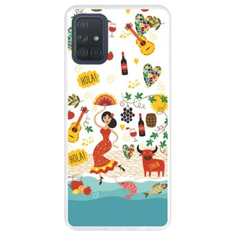 Capa Hapdey para Samsung Galaxy A71 | Silicone Flexível em TPU | Design Espanha, referências e símbolos - Transparente