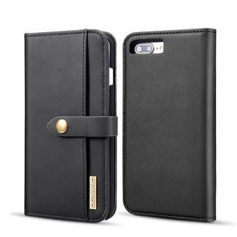 Capa PU divisão destacável 2-in-1 preto para Apple iPhone 8 Plus/7 Plus