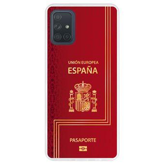 Capa Hapdey para Samsung Galaxy A71 | Silicone Flexível em TPU | Design Passaporte biométrico espanhol - Transparente