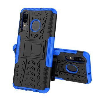 Capa TPU Magunivers cool pneu híbrido com kickstand azul para Samsung Galaxy A50/A30/A20