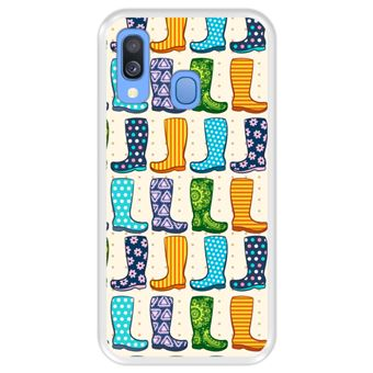 Capa Tpu Hapdey para Samsung Galaxy A40 2019   Design Botas de Borracha Colorida Moda - Transparente