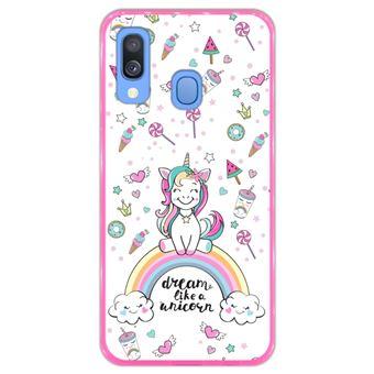 Capa Hapdey para Samsung Galaxy A40 2019 Design Arco-Íris Dream Like a Unicorn em Silicone Flexível e TPU Cor-de-Rosa